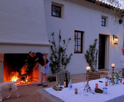 Spanish Revival outdoor fireplace in courtyard photos and images in California Santa Barbara